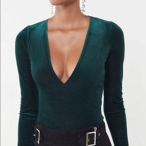 Urban Outfitters Green Glitter Vneck Velvet Top